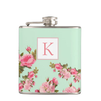 Pink Green Floral Monogram Bridesmaid Flask