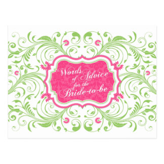 Pink Green Floral Words of Advice for the Bride Postcard