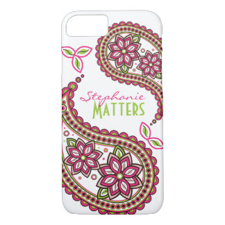 Pink Green Funky Paisley Personalised iPhone 8/7 Case