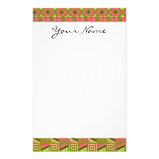 Pink Green Geo Abstract Aztec Tribal Print Pattern Stationery