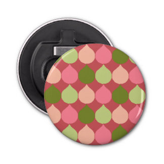 Pink Green Geometric Ikat Teardrop Circles Pattern Button Bottle Opener