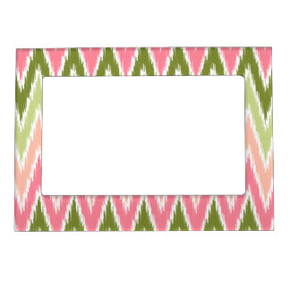 Pink Green Ikat Chevron Zig Zag Stripes Pattern Magnetic Picture Frame