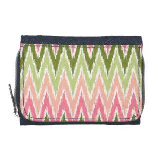 Pink Green Ikat Chevron Zig Zag Stripes Pattern Wallet
