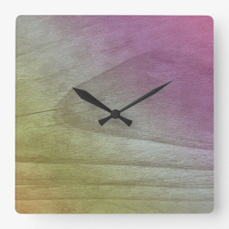 Pink Green Ombre Gradient Stained Wood Look Square Wall Clock