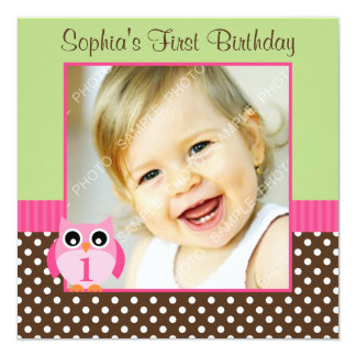 Pink Green Owl Polka Dot 1st Birthday Girl Photo Card