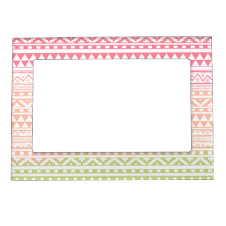 Pink Green Watercolor Aztec Tribal Print Pattern Magnetic Frame