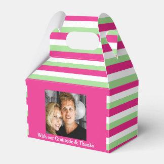 Pink green wedding photo 2a favour box