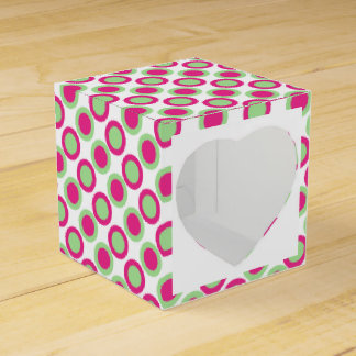 Pink green wedding polka dots favour box