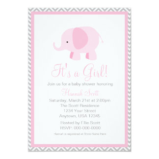 Pink Grey Chevron Elephant Girl Baby Shower Invite