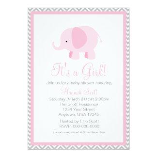 Pink Grey Chevron Elephant Girl Baby Shower Invite