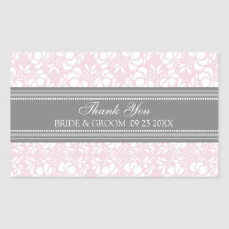 Pink Grey Damask Thank You Wedding Favor Tags Rectangular Sticker