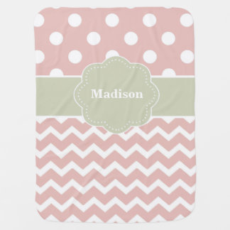 Pink Grey Dots Chevron Personalised Baby Blanket