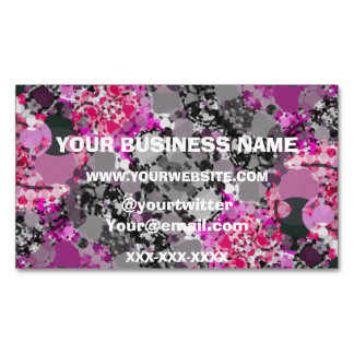 Pink Grey Girly Abstract Magnetic Business Card