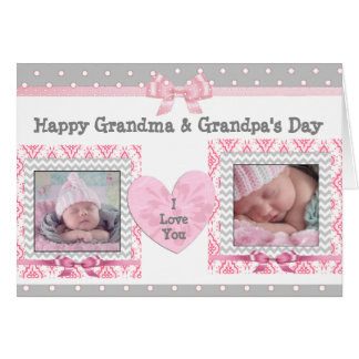 "Pink & Grey Grandparent's Day ""I Love You"" Card"