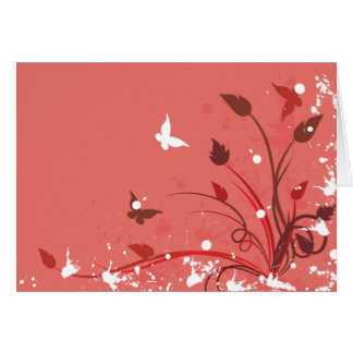 Pink Grunge Butterfly Note Card