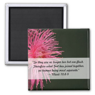 Pink Gum Tree Flower  Wedding Bible Quote Square Magnet