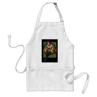 Pink Haired Punk Rock Alternative Girl by Al Rio Apron
