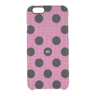 Pink Halftone Dots Clear iPhone 6/6S Case