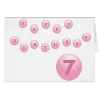 Pink Happy Birthday Balls Age 7 Card