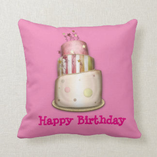 """Pink """"Happy Birthday"""" Pillow with Cake"""
