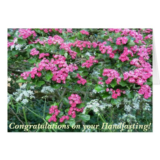 Pink Hawthorn Pagan Wedding Card