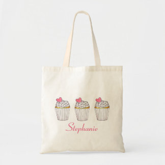 Pink Heart Baked Cupcakes Personalized Tote Bag
