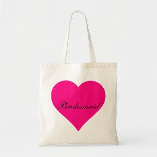 Pink Heart Bridesmaid Tote Bag