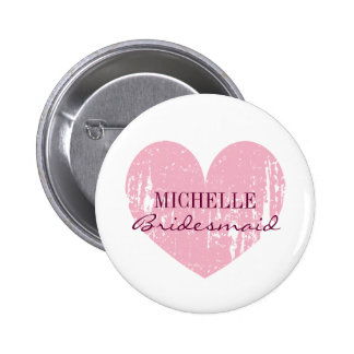 Pink heart bridesmaids buttons | Personalised name