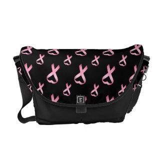 Pink Heart Cancer Ribbon 2 Messenger Bag