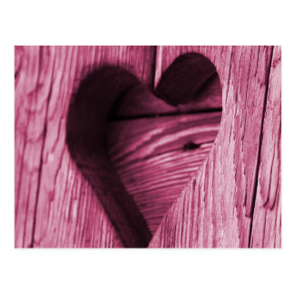 Pink Heart carved in wood Postcard