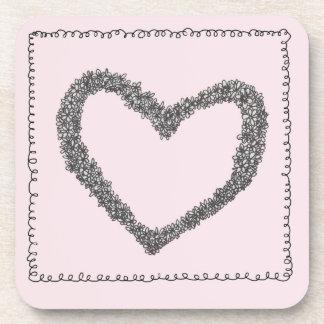 Pink heart coaster set