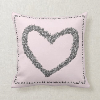 Pink heart cushion pillows