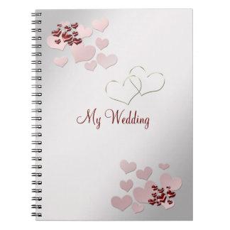 Pink Heart Elegant Wedding Notebook