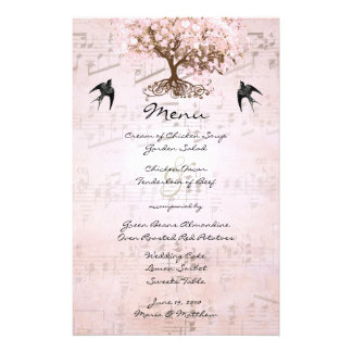 Pink Heart Leaf Tree Wedding Menu