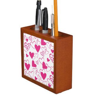 Pink Heart Pattern Desk Organizer