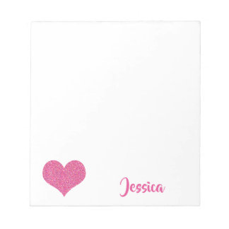 Pink Heart Personalised Girly Name Notepad