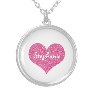 Pink Heart Personalised Girly Name Silver Plated Necklace