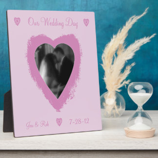 Pink Heart Personalized Wedding Plaque