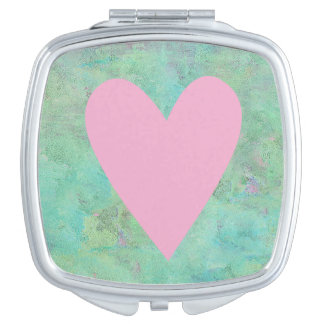 Pink Heart Square Compact Mirror
