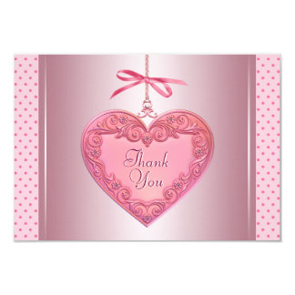 Pink Heart Thank You Cards 9 Cm X 13 Cm Invitation Card