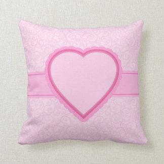 pink heart throw cushion