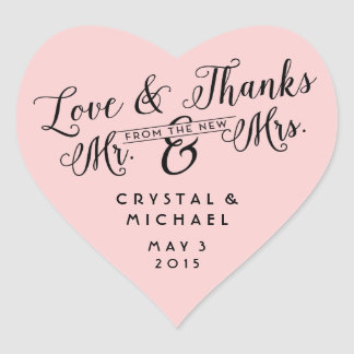 Pink Heart Wedding Favor Thank You Stickers