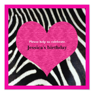 Pink Heart with Zebra Print Party Invitation