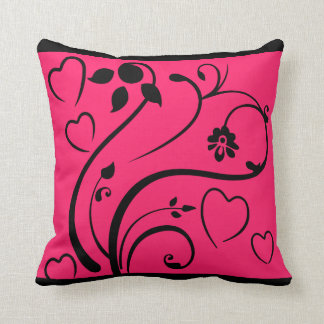 Pink hearts and flowers throw pillow