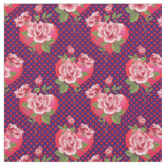 Pink Hearts and Roses on Dotted Purple | Valentine Fabric