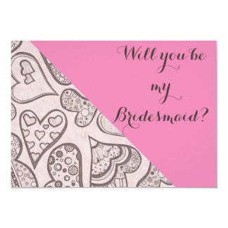 Pink Hearts Bridesmaid Invitation