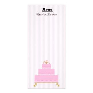 "Pink  Hearts Cake Birthday Menu 4"" x 9"" Rack Cards"