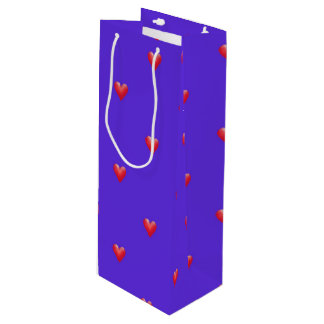 Pink Hearts on Purple | Valentine's Day Wine Gift Bag