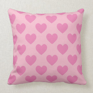 Pink Hearts Throw Pillow