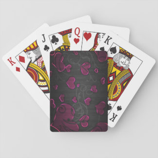 Pink Hearts with silver swirl lines Florish Wood Poker Deck
